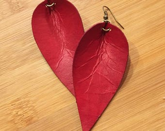 Leather Earrings, Joanna Gaines Inspired, Red, Leather Leaf Earrings, Inspired By Joanna Gaines Earrings