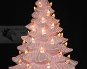 Pink Ceramic Christmas Tree 11 inch