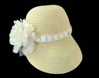 "Women's Baseball Hat, Straw Cap, Sun Hat, Golf Visor Hat, Golf Gift, Resort Wear Sun Cap in Natural Tones is - ""Cute As A Button"""