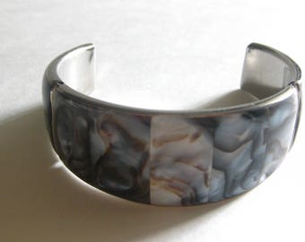 Abalone Cuff Bracelet Wide Band Gray Vintage Free Shipping