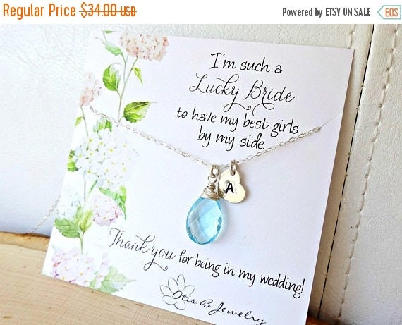 WEEKEND SALE Personalized Bridesmaid Gift, Custom initial & birthstone necklace, Bridesmaid mesage card, bridal wedding jewelry, hand stampe
