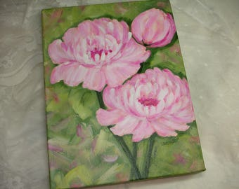 Peony Painting - Original 9x12 Canvas Art -Deep edge Canvas - Shabby Cottage Chic Art - Pink Peonies- Pink Flower Painting - Floral Art