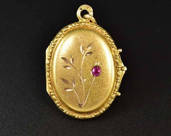 Antique Russian Ruby Gold Locket, Victorian 14K Gold Engraved Locket Ruby Pendant, Antique Gold Pendant, July Birthstone Necklace Locket