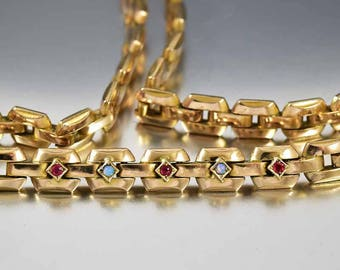 Art Deco Gold Ruby Opal Necklace, Articulated Link Choker Necklace, Art Deco Necklace, Tank Tread Chain Necklace, Boho Rustic Wedding