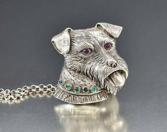 Vintage Silver Dog Brooch Pendant Necklace | Ruby and Emerald Animal Brooch | Fox Terrier Brooch Pet Lover Gift Sterling Silver Pet Brooch