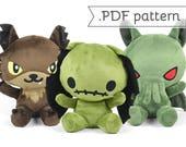 Chibi Horror Animal Plush Sewing Pattern .pdf Tutorial Rabbit Panda Bat Werewolf Cat
