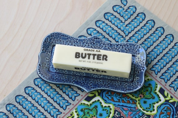 navy butter dish/ small tray