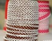 FINAL CLEARANCE SALE Bias Tape  Double Fold Chocolate Brown Polka Dot Crochet Lace