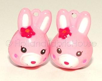 FINAL CLEARANCE SALE Kawaii Jingle Bell Charms -- Bunnies in Pink: Set of 2
