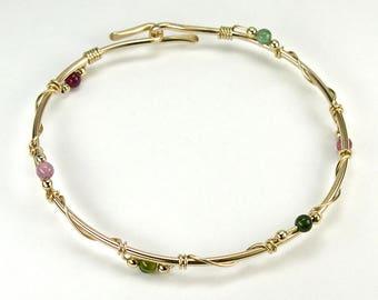 Tourmaline Gold Bangle Bracelet, Multi-Colored Gemstone 14K Gold-filled Stacking Bangle, Unique Original Modern Design, Opens, Sizes
