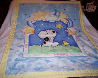 Homemade Snoopy,Woodstock Starlight Cotton Baby/Toddler Quilt-NEWLY MADE 2017