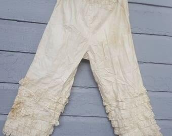 Vintage Cotton and Lace Bloomers Slacks Capri's Girls Victorian