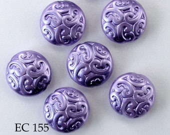 Czech Glass Brocade Coin Beads Opaque Purple Iris (EC 155) 5 pcs