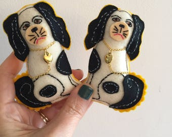 Pair of Staffordshire Dogs Brooches, Stuffed Spaniel Pin