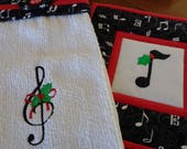 Christmas Musical Hanging Towel and Pot Holder Set, Music Note and Clef,Music Teacher Gift,Musical Christmas Kitchen Decor,Quiltsy Handmade