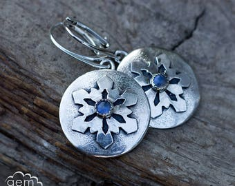 Sterling silver and Moonstone Snowflake earrings - Whispers of Winter -
