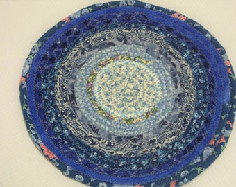 """Blue Reversible Coiled Fabric Trivet - 8"""" - Handmade by Me - Candle Mat, Hot Pad, Blue, Bullseye, Multicolor, Bohemian Style"""