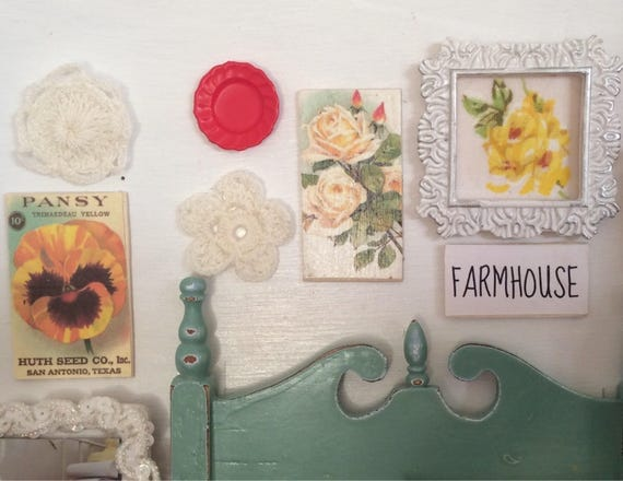 Vintage Country Style Dollhouse gallery wall pictures-1:12 scale