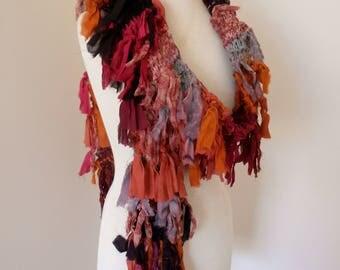 recycled silk  boho chic long tattered  scarf orange amber red pink black