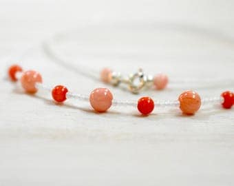 genuine coral beaded necklace choker. white true cut seed beads. creamy pinky coral and orange. bright coral and white necklace
