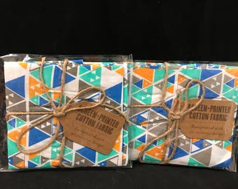 Screen-Printed Cotton Fabric Orange, Blue, Brown And Green Triangles Pattern Fat Quarters