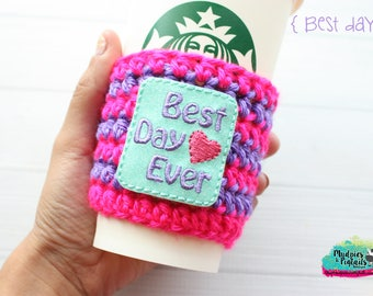 Pink Coffee Cozy { Best Day Ever } Summer mouse, park bound Inspired, princess, drink, coffee cup cozie, cup cozy, mug starbucks