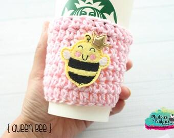 Crochet Coffee Sleeve { Queen Bee } bumblebee, kawaii, pink yellow spring cup cozy, knit mug sweater, coffee mug, frappuccino holder