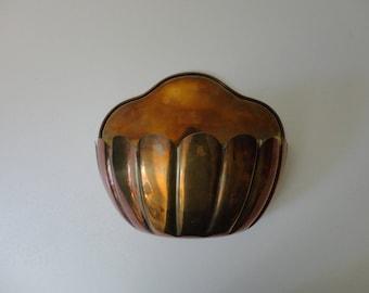 VINTAGE BRASS tone metal wall pocket style PLANTER