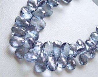 Mystic Blue Quartz GemstoneBead. Faceted Pear Briolette, 10-14mm. Semi Precious Gemstone.  Pairs or Non Match 1 to 9 Briolettes  (4B12).