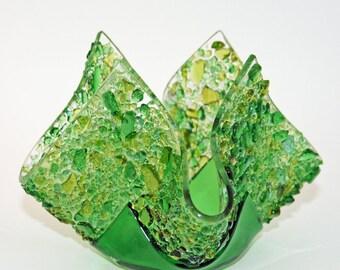 Glassworks Northwest - Votive Green - Fused Glass Candleholder