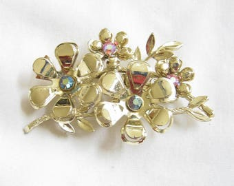 Vintage CORO Signed Blue And Pink Aurora Borealis Flower Brooch