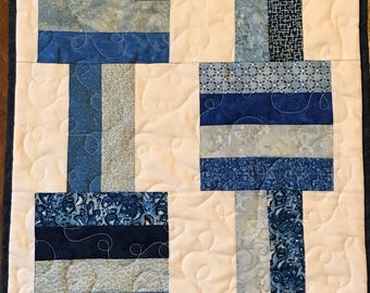 """Table Topper, 16.5"""" x 18"""", blue and white table runner,  table decoration, dresser topper"""