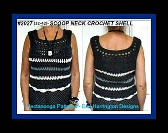 CROCHET SWEATER PATTERN, Scoop Neck Shell Top, adult chest 32 - 42 inches,  Quick and Easy Pattern, 202732-42, Women's clothing,