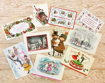 10 Vintage Christmas Festivities Cards, Ice Skating, Sledding, Snowmen, Midcentury Cards, 1940s-1960s Christmas Festivities Cards Set #2