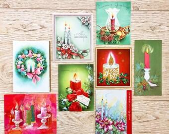 8 Vintage Candle Christmas Cards, Christmas Candles, Midcentury Cards, 1940s-1960s Candle Christmas Cards: Set #1