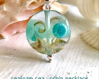 Seafoam Sea Urchin Lampwork Glass Wave Necklace