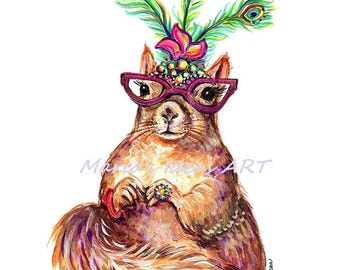 Squirrel with glasses, art, Squirrel wall art, funny squirrel, Squirrel wearing jewelry, peacock feathers, Marias Ideas Art