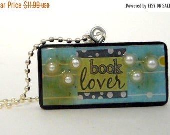 Book Lover Collage Domino Necklace Pendant Reclaimed Mixed Media Art Reading Blue Green