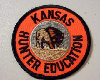 Vintage Kansas Hunter Education Iron On Embroidery Patch Buffalo Orange Black KS