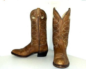 Tan Brown cowboy boots - Acme brand - size 10.5 D or cowgirl size 12