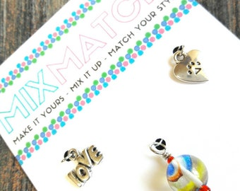 MIX MATCH - Charm Batch 7 - Love Charm, Rainbow Swirl Marble Bead Charm, Paw Print On Heart Charm
