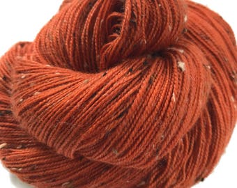 "Donegal tweed yarn, hand dyed, fingering weight, 438 yds, 2 ply, rusty orange, ""Sorcha"",  BFL and nylon blend"