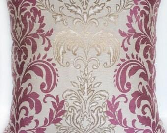 Lilac & Gold damask pillow. decorative damask  pillow. modern damask pillow.  18x18 inches