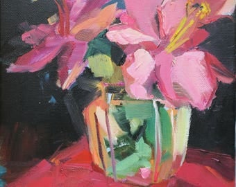 small oil painting, impressionism, hibiscus, pink floral, pink flower, exotic, artist Linda Hunt, still life, original painting, red