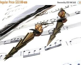 CLEARANCE SALE Brass Earrings Lightening Earrings Modern Jewelry Brass Earrings Lightening Bolts