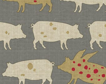 Pig Fabric - Little Pigs Fly By Littlerhodydesign - Farm Animal Country Pigs Rustic Farm Cotton Fabric By The Yard With Spoonflower