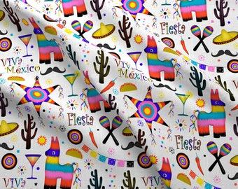 Piñata Fabric - Fiesta Mexicana By Vannina - Piñata Sombrero Margarita Cinco de Mayo Cactus Cotton Fabric By The Yard With Spoonflower