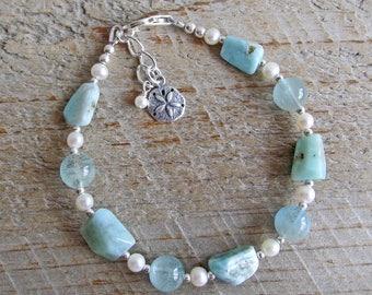 Larimar Aquamarine Pearl Sterling Silver Sand Dollar Healing Gemstone Bracelet
