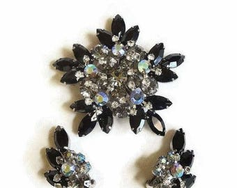 Juliana Rhinestone Star Brooch and Earrings Black, Smoke and Aurora Borealis D&E Verified Vintage Set