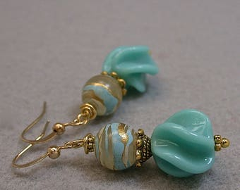Vintage Japanese Glass Aqua Blue Fin Swirl Bead Earrings Dangle Drop,Vintage German Blue Gold Lucite Beads, Gold Ear Wires - GIFT WRAPPED